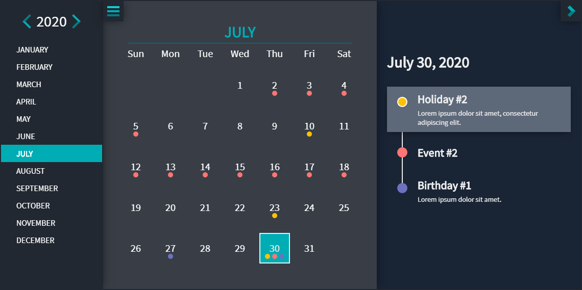 Evo Calendar - Theme: Midnight Blue