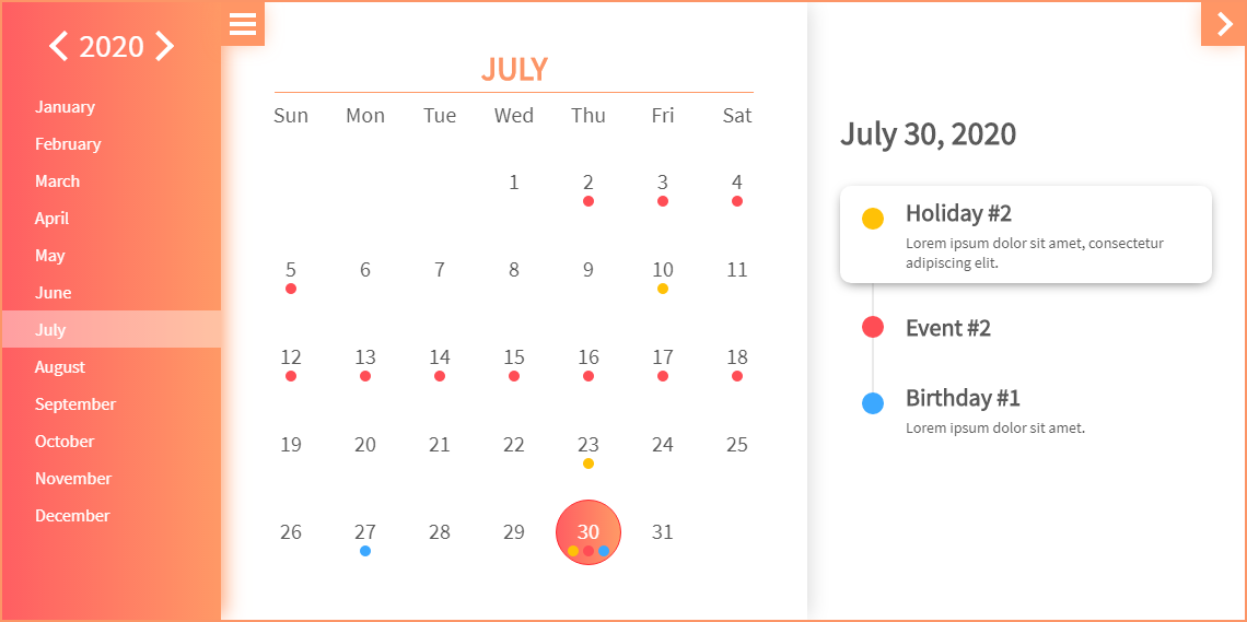 Evo Calendar - Theme: Orange Coral